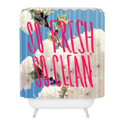 DENY Designs - Leah Flores So Fresh So Clean Shower Curtain - Who says bathrooms can't be fun? To get the most bang for your buck, start with an artistic, inventive shower curtain. We've got endless options that will really make your bathroom pop. Heck, your guests may start spending a little extra time in there because of it!