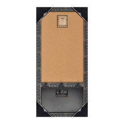 "Enchante Accessories Inc - Wood Framed Wall Message Cork Board & Chalk Bulletin Board 17""x33"" (Black) - This message board features a Distressed Wooden Framed Cork Board / chalkboard combination."