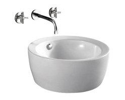 "TCS Home Supplies - Round Porcelain Ceramic Countertop Bathroom Vessel Sink - 18 x 7-3/4 Inch - Bathroom Rounded Vessel Sink. Above Countertop-Mount Installation. Porcelain Ceramic. Compatible with Most Vessel Filler and Wall-Mount Faucets. Exterior Diameter 18"". Interior Diameter 16"". Depth 7-3/4""."