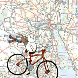 Providence Map Bicycle Bunnies Art Print by Sepia Lepus - Maps plus bunnies — why not? I love the idea of two bunnies off on an adventure to see the world.