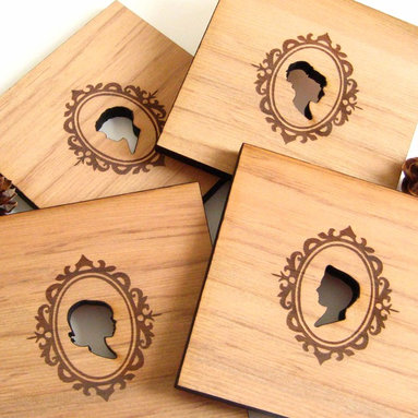 Silhouetted Wood Coasters, Set of 4 -