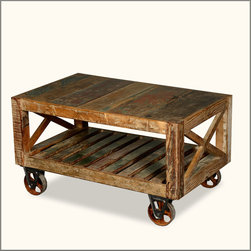 Industrial Reclaimed Wood & Iron Rolling Double X Coffee Table -