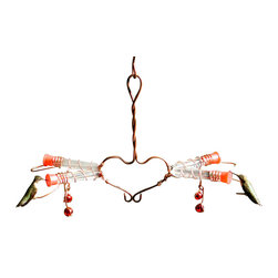 Songbird Essentials - Victorian Love Birds Feeder - With 2 paired perches, this 4 station feeder lets 2 hummingbirds feed side by side.