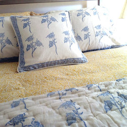 Tilonia Home: Queen Quilt - Fancy Floral in Blueberry - Duvet covers and quilts are produced by artisans of Tilonia.  100% cotton is hand printed using traditional wooden blocks and AZO free dyes.