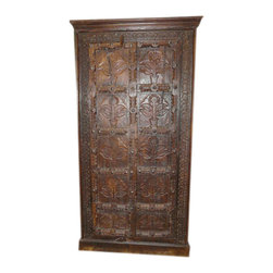 Carved Armoire - Antique floral carving wooden cabinet perfect for storage or clothes chest.