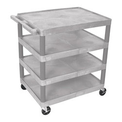 Luxor Furniture - Multi-Tiered Serving Cart w 4 Shelves in Gray - Includes 4 in. swivel casters. Two casters with locking brake. Lightweight. Lip around back and sides of flat shelves. Push handle molded into top shelf. 7.75 in. clearance between shelves. Made from high density polyethylene and plastic. Made in USA. Minimal assembly required. 32 in. W x 24 in. D x 37.75 in. H. Warranty