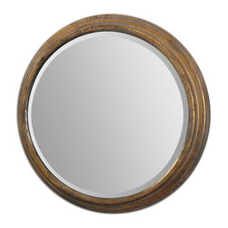 Uttermost - Cerchio Gold Mirror - A mirror in the round! The antique gold leaf finish adds richness to the simplicity of design that is timeless. Above a mantel, this mirror would bring light and life into your space. Hung at the end of a hallway, it adds depth.