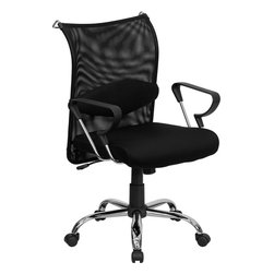Flash Furniture - Flash Furniture Mid-Back Manager's Chair w/ Black Mesh Back & Padded Mesh Seat - This extremely comfortable mesh office chair has a distinct look with its curved back and chrome framed arms. The breathable mesh back is an added bonus for keeping your back cool when sitting for long periods of time. back features a chrome coat rack to keep your belongings within reach. chair has attractive chrome arms with polyurethane arm caps. [BT-2905-GG]