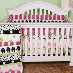 Cotton Tale Designs - Hottsie Dottsie 4 Pc Crib Bedding Set - A quality baby bedding set is essential in making your nursery warm and inviting. All Cotton Tale patterns are made using the finest quality materials and are uniquely designed to create an elegant and sophisticated nursery. This collection is 100% cotton. Graphic, fun, contemporary. Black elephants with hot pink and green accents. The channel quilted comforter in 6 fun fabrics, sheet in white with black spots. A four sectioned bumper in hot pink stripe and black elephants. The dust ruffle is double shirred in pink and green floral. makes a smashing nursery. Wash gentle cycle, separate, cold water. Tumble dry low or hang dry. Fun crib bedding for your special girl.