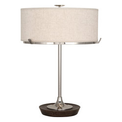 Robert Abbey - Edwin Table Lamp - Brighten your nightstand or living room accent table with this contemporary-style polished nickel lamp. Featuring a clean profile, it's topped with a linen shade that beautifully diffuses light for a warm, mood-enhancing glow.