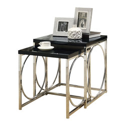 Monarch Specialties - Monarch Specialties 3022 2-Piece Nesting Table Set in Chrome and Glossy Black - With its chic glossy black tops, this 2 piece nesting table set gives an exceptional look to any room. Its original circular chromed metal base provides sturdy support as well as a contemporary look. Use this multi- functional set as end tables, lamp tables, decorative display tables, or simply as accent pieces.