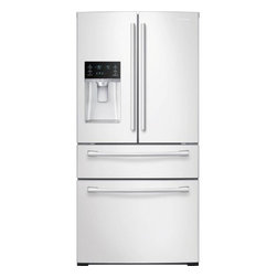 """Samsung - RF28HMEDBWW 36"""" French Door Refrigerator with 4 Doors  28 cu. ft. Ultra Large Ca - This large capacity 2815 cu ft Samsung 4 door French Door refrigerator stores up to 28 bags of groceries and helps keep your food fresher longer with Twin Cooling Plus technology Ice Master ice maker produces an incredible 10 lbs of ice per day Enjoy..."""