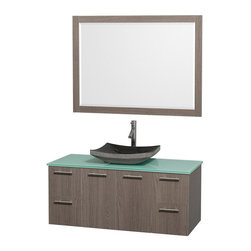 Wyndham Collection - 21.75 in. Modern Wall Mounted Vanity Set in Grey Finish - Includes mirror, drain assemblies and P-traps for easy assembly. Faucet not included. Modern clean lines. Eight stage preparation. Veneering and finishing process. Highly water resistant low V.O.C. sealed finish. Unique and striking contemporary design. Deep doweled drawers. Fully extending soft close drawer slides. Soft close door hinges. Single hole faucet mount. Two functional doors. Four functional drawers. Plenty of storage space. Green glass top. Black granite sink. Engineered for durability and to prevent warping and last for lifetime. 0.75 in. thickness mirror. Made from highest quality grade E1 MDF. Metal exterior hardware with brushed chrome finish. Minimal assembly required. Mirror: 46 in. W x 33 in. H. Vanity: 48 in. W x 21.75 in. D x 20.25 in. H. Care Instructions. Assembly Instructions - Sink. Assembly Instructions - MirrorTruly elegant design aesthetic meet affordability in the Wyndham Collection Amare Vanity. The attention to detail on this elegant contemporary vanity is unrivalled.