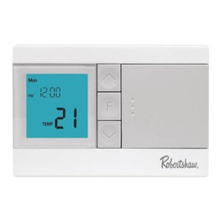 ROBERTSHAW - Termostato Heat/Cool (1/1) Programmable 5/2 - The Robertshaw RS3100 thermostat is simply the right choice when it comes to programmable temperature control that can help reduce energy costs up to 25%. With the comfort, convenience, and efficiency features that homeowners and contractors want.