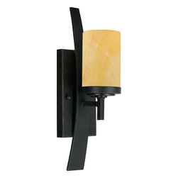Quoizel - Quoizel KY8701IB Kyle Modern/Contemporary Wall Sconce - A rustic contemporary look that gives a dramatic flair to your home, this design serves as a piece of art in itself. It features gorgeous butterscotch onyx shades that emit a romantic glow, and sweeping wrought iron metal bands that add visual interest. Onyx is a mottled quartz that takes a high polish. As the favorite medium for Greek and Roman sculptors and architects, onyx has become a cultural symbol of tradition and refined taste.