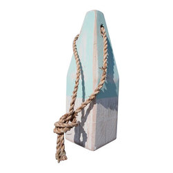 """12"""" Nautical Wood Buoy- Aqua/White - Add a nautical element of style to your indoor or outdoor living areas. Our wooden buoys are individually hand painted in classic nautical colors. Place on a tabletop or hang from the walls."""