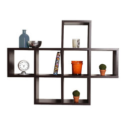 Danya B - Cubby Laminated Veneer Shelving Unit in Walnut - Laminated Walnut Finish. Wall mount. Provides 7 display cubbies. 31 in. L x 5.5 in. W x 23 in. H (12.5 lbs)
