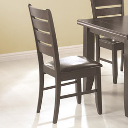 Coaster - Side Chair in Cappuccino, Set of 2 - Cappuccino finished casual dining set is crafted from select hardwoods and oak veneers. Chairs and bench are upholstered in a durable dark brown leather-like vinyl.