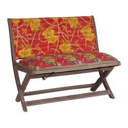 Modelli Creations - One Of A Kind Kantha Bench In Red Floral Print - This bench is made of shesham wood and folds for easy stow away. Upholstered with beautiful kantha fabric this bench will add interest and color to any space