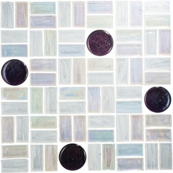 Basket Weave Mosaic Tile - 1 sf Designed after the diaphanous dragonfly wing, translucent and iridescent hand made glass tiles are spotted with iridescent purple fused glass circle tile. A perfect backsplash,