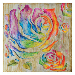 Yosemite Home Decor - Colored Roses I Art - Brighten your living area with a rainbow of roses. Hand painted roses in a variety of vivid colors on a neutral beige painted canvas. Pair this painting with another piece from the same family to create a more dramatic effect. This painting is hand stretched on canvas and ready for wall mounting.