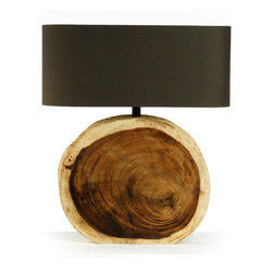 Kathy Kuo Home - Mandara Natural Wood Plank Circle Table Lamp - Naturally paying homage to the passage of time, driftwood furnishings have been a timeless staple of modern design for decades.  Showing off a circular motif, the Mandara Table Lamp is made of both driftwood and natural raw wood.  Completed by a soft brown taupe shade, it is scaled to be the perfect fit for console tables, lamp tables and mantels.  A great addition to beach homes and modern city apartments, the Mandara continues the tradition of driftwood in style.