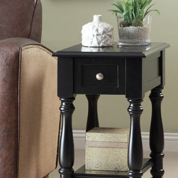 None - Black Side Table - Ideal for traditional and transitional spaces, this beautiful wood side table combines a modern black finish with traditional lines and hardware. A low storage shelf and convenient pull-out drawer makes this piece as practical as it is gorgeous.