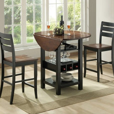 Contemporary Indoor Pub And Bistro Tables Sunset Trading Quincy 3 Piece Black & Cherry Pub Table Set - CR-A7572-68-24-CSET