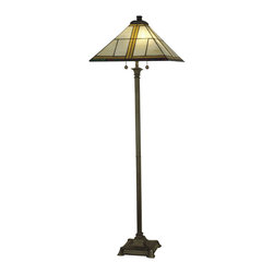 Dale Tiffany - Dale Tiffany TF10497 Simplicity Mission Floor Lamp - Shade: Hand Rolled Art Glass