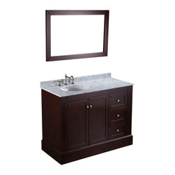 Bosconi - 45'' Bosconi SB-255 Vanity Set - Looking good: This vanity set offers everything you need to keep up appearances. You'll find a matching mirror to go over your Carrara marble countertop, plus ample storage to keep all the messy stuff out of sight.