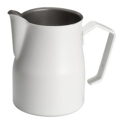 """Motta - Motta Professional Milk Frothing Pitcher / Jug 11.8 fl. oz, White Coating - Preferred by many professional baristas, the pitcher Motta Europa series stainless steel with a spout and a shaped hem. Designed so the milk can be skimmed for decor with milk on Cappuccino, Caffe"""" macchiato, Cafe"""" creme, Lattes, Cafe Noisette, etc.Tried and backed up by the Barista Association of Italy. Piece entirely made of stainless steel with commercial white coating. Perfect shape, wide on the bottom; then it narrows on the top to help to create perfect foamEasy to grab handle. Capacity: 11.8 fluid ounces / 0.35 liter / 3-Cups / 1.5-US Cups. Made in Italy."""