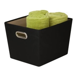 Medium Decorative Storage Bin With Handles -- Black - 15.75 in l x 13 in w x 10.8 in h /40 cm l x 33 cm w x 27.4 cm h)