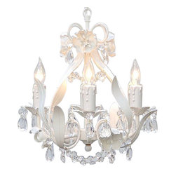 Gallery - Wrought Iron 4-Light Crystal Mini Chandelier - Features: