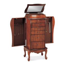 Coaster - Coaster Elegant Antique Cherry Jewelry Armoire in Light Cherry - Coaster - Jewelry Armoires - 900075 - Store all your jewelry with this clean, stylish antique cherry jewelry armoire. This elegant armoire features specially designed storage spaces for rings, necklaces and more. The classic lines of this accent piece and its inherent sophistication will ensure a lasting appeal.