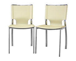 Baxton Studio - Baxton Studio Montclare Ivory Leather Modern Dining Chair (Set of 2) - You will enjoy the clean design of this contemporary leather dining chair. The shine of the chrome-finished steel frame contrasts beautifully with the matte ivory bonded leather of the seat. The edges of the leather are finished with a single line of stitching in white. Small black plastic non-marking feet are included to protect your floor. The modern dining chair works equally well in a professional setting as a leather office chair or as waiting room furniture.  The Montclare Chair is fully assembled.