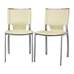 Baxton Studio - Baxton Studio Montclare Ivory Leather Modern Dining Chair (Set of 2) - you,l enjoy the clean design of this contemporary leather dining chair'shine of the chrome-finished steel frame contrasts beautifully with the matte ivory bonded leather of the seat. The edges of the leather are finished with a single line of stitching in white. Small black plastic non-marking feet are included to protect your floor. The modern dining chair works equally well in a professional setting as a leather office chair or as waiting room furniture.  The Montclare Chair is fully assembled.