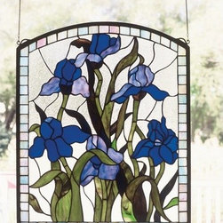 Meyda Tiffany - Meyda Tiffany 36074 Stained Glass Tiffany Window Window Garden Collecti - Meyda Tiffany's original Iris design celebrates the beauty of the flower named for Juno's messenger who was turned into a rainbow. Purple Iris flowers and Spring Green leaves adorn a Clear Frost background banded in Sky Blue. Handcrafted of 251 pieces of stained art glass utilizing the copperfoil construction process. Mounting bracket and jack chain included.Features: