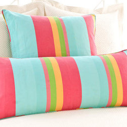 Pine Cone Hill - june stripe decorative pillow (26x26) - Summery tangerine, lime, grass, aqua, navy, and coral make playful neighbors on this wide, variegated stripe. Decorative piping.��This item comes in��aqua.��This item size is��26w 26h.
