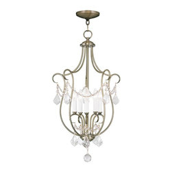 Joshua Marshal - Five Light Antique Brass Open Frame Foyer Hall Fixture - Five Light Antique Brass Open Frame Foyer Hall Fixture