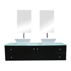 "Design Elements - Design Elements DEC071A Vanity in Espresso - The 61"" Portland Wall-Mount Double-Sink Vanity set is elegantly constructed of solid hardwood. The natural aqua color of the tempered glass countertop brings a clean and contemporary look to any bathroom. Seated at the base of the two ceramic vessel sinks are chrome finish pop-up drains, designed for easy one-touch draining. Two mirrored medicine cabinets and three shelving sets are included. The vanity features four pullout drawers and a double-door cabinet, all adorned with satin nickel hardware."