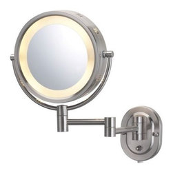 "Jerdon - Jerdon HL65N 8"" Wall Mount Halo Lighted Mirror in Nickel - Jerdon-HL65N 8"" Wall-Mount Halo Lighted Mirror in NickelWall mounted mirror"