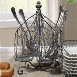 Chicken Wire Utensil Holder - Keep your silverware and cooking utensils within easy reach with our attractive and functional Utensil Holder. Chicken wire and metal construction allows for air circulation, with the four separate sections providing organization and ample storage.