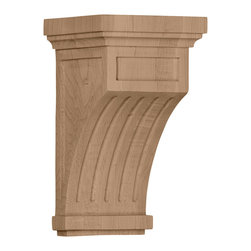 """Ekena Millwork - 5 1/2""""W x 5 1/2""""D x 10""""H Fluted Corbel, Rubberwood - Enjoy the warmth and beauty of carved wood corbels.  With the proper installation, these wood brackets can support up to 150lbs, which gives you the flexibility to use a decorative bracket for support.  Available in a variety of species, these brackets ship to you fully sanded and ready for your paint or stain."""