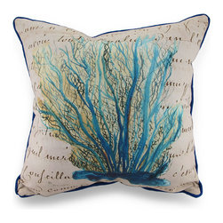 Betsy Drake - Betsy Drake Blue Coral Print Beige Indoor/Outdoor Throw Pillow - This oceanic inspired throw pillow adds a beautiful pop of color accenting your home inside or out in tropical style with original artwork designed by artist Betsy Drake, blue coral comes to life in water-color style on this beige pillow that's perfect for your living room sofa or the Adirondack chair on the patio and has a complementing bright blue backing and piping around the edges. The 100% polyester cover is water repellent and it's filled with 100% polyester fiber. Measuring 18 inches high by 18 inches long (46 cm by 46 cm), it would look amazing by a pool area, in the guest room or just tossed on the bed, and is made with pride in the U.S.A. It is recommended to spot clean only. This bright and cheerful throw pillow would make an excellent housewarming gift for any tropical decor fans