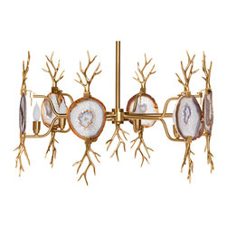 Kathy Kuo Home - Branch Satin Brass Natural Agate Stone 6 Light Chandelier - Like a relic from the palace of Narnia's ice queen, this natural agate polished brass chandelier has a cool, irresistible beauty. Each of the six agates is a natural piece and therefore variations in colors and patterns should be expected.