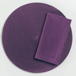 "Origin Crafts - Purple round woven placemats set of 4 - Purple Round Woven Placemats Set of 4 Napkins & Placemats sold separately. Sets of four. Durable. Virtually stain resistant. Woven w/polypropylene plastic and cotton thread. Wipe clean w/damp cloth. Dimensions: Placemats - 15"" dia. Napkins - 20"" x 20"" By Tag Ltd. - Tag Ltd. is a supplier of"