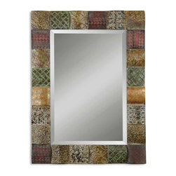 Uttermost - Ganya Multi-Color Rectangular Mirror - This decorative mirror features hand embossed sheet metal over convex wooden squares.  Frame is finished in a combination of rust brown, sage green, aged white, antiqued gold and mahogany.  Mirror features a generous 1 1/4 inch bevel.
