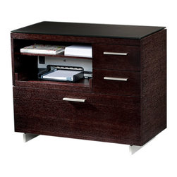 BDI - Sequel Multifunction Storage Cabinet, Espresso - The perfect addition to an office, all unsightly work materials and electronics can be neatly organized with the Sequel Multifunction Storage Cabinet by BDI. It is equipped with a file drawer and side drawers, printer ledge and shelf. Choose between 3 color options.