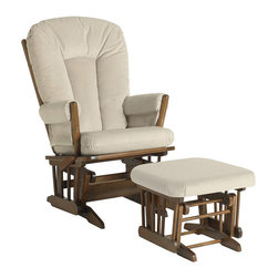 Dutailier - Dutailier Ultramotion Beige Microfiber Glider Chair/ Ottoman Set - New mothers and fathers will cherish moments rocking a newborn in this beige microfiber glider and ottoman. Its wooden frame is covered by padded microfiber in beige that can easily coordinate with a boys or girls nursery and is made to last.