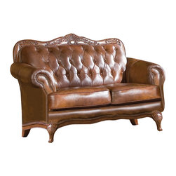 Coaster - Coaster Victoria Leather Loveseat - The Victoria Leather Loveseat manufactured by Coaster Furniture features classic button tufted Tri-tone leather, decorative moldings and over 1,000 individually placed nailheads to highlight this loveseats gentle curves. The loveseat is constructed with Hardwood Frames and standard 1.8 density cushioning with Dacron wrap. The top grain/split Tri-Tone leather cover is carefully crafted, blending three colors to create such a high end look.
